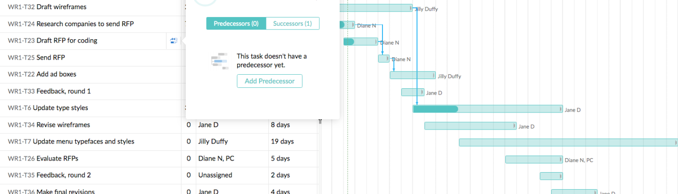 Project management software - Zoho Projects, Gantt chart